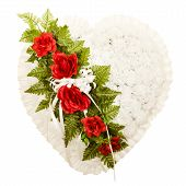 image of broken heart flower  - Silk funeral flower arrangement in broken heart design - JPG