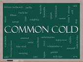 Common Cold Word Cloud Concept On A Blackboard