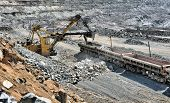 picture of iron ore  - Loading of iron ore on the train in career - JPG