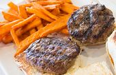Hamburger and sweet potato fries