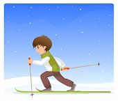 illustration of a small boy cross country skiing
