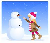 illustration of a cute blonde girl with snowman