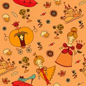 seamless pattern-hand drawn cinderella vector