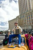 Moscow - September 1, 2012: Man In Retro Dress  With Accordion Seat On Car During A 865 Town Day On
