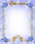 stock photo of quinceanera  - Illustration composition for 15th birthday invitation background card or stationery with copy space - JPG