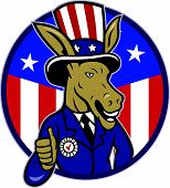 Democrat Donkey Mascot Thumbs Up Flag
