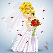 Wonderful shining bride with a wedding bouquet