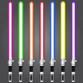 stock photo of saber  - Vector illustration of bright colour Lightsaber set - JPG