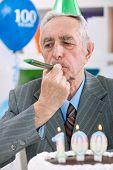 Senior man celebrates his one hundredth birthday