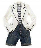 stock photo of blazer  - Fashion composition of white blazer with striped t - JPG
