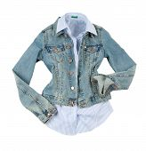 Denim Jacket With Striped Shirt