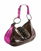 Metallized Patent Leather Tote With Frilly Beaded Carved Crystals Embellishment