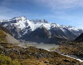 stock photo of hookers  - The Hooker river and Valley in New Zealand - JPG