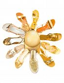 Sun Shaped Golden Sandals Still Life Fashion Composition