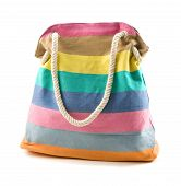 Canvas Multicolored Striped Beach Bag With Rope Shoulder Strap
