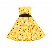 Flowery Evase Bateau Yellow Dress