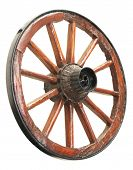 stock photo of wagon wheel  - Antique Cart Wheel made of wood and iron - JPG