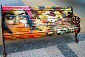 Artistic Painted benches Santiago