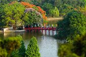 The Huc bridge (Hom Guom lake, Hanoi)