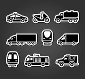 Set of stickers, transport symbols