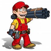 stock photo of pipe wrench  - Cartoon illustration of a handyman  - JPG