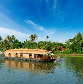 picture of houseboats  - Houseboat on Kerala backwaters - JPG