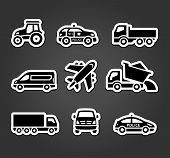 Set of sticky stickers, transport icons