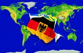 Fist In Color  National Flag Of Germany    Punching World Map