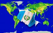 Fist In Color  National Flag Of Guatemala    Punching World Map