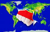 Fist In Color  National Flag Of Indonesia    Punching World Map