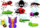 stock photo of larvae  - Vector illustration of Insect cartoon collection set - JPG