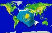 Fist In Color  National Flag Of Kazakhstan    Punching World Map