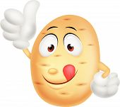 stock photo of batata  - Vector illustration of Cute potato cartoon thumb up - JPG