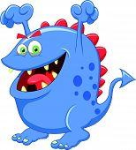 Desenhos animados do monstro azul bonito