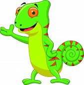 Chameleon cartoon waving