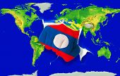 Fist In Color  National Flag Of Laos    Punching World Map
