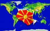 Fist In Color  National Flag Of Macedonia    Punching World Map