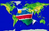 Fist In Color  National Flag Of Namibia    Punching World Map