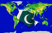 Fist In Color  National Flag Of Pakistan    Punching World Map