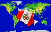 Fist In Color  National Flag Of Peru    Punching World Map