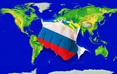 Fist In Color  National Flag Of Russia    Punching World Map