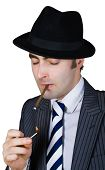 Retro Businessman Light A Cigarette