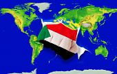 Fist In Color  National Flag Of Sudan    Punching World Map