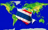 Fist In Color  National Flag Of Thailand    Punching World Map