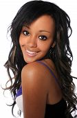pic of beautiful woman face  - Portrait of young African American woman smiling - JPG