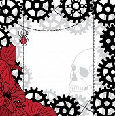 Frame With Skull, Gears, Spider And Chains