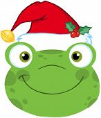 Cute Frog Smiling Head With Santa Hat