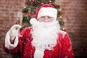 Santa Claus With A Glass Of Sparkling Wine Champagne