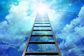 stock photo of step-ladder  - Ladder leads into sky with burst of light - JPG
