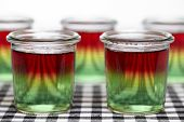 image of jello  - Traffic light jello made of three layers jello - JPG
